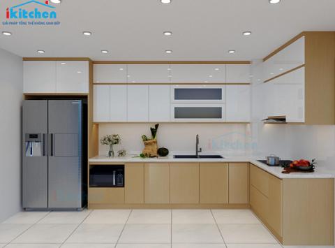 Hình ảnh thiết kế 3D tủ bếp nhà Chị Thương – Chung cư Phúc Hà, An Khánh, Hà Nội
